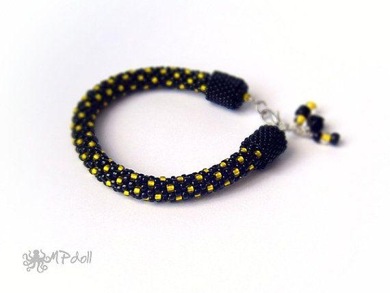Bee  Bead Crochet Bracelet Crochet Rope Beaded Handmade Black
