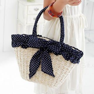 PG Beauty  Bow-Accent Straw Tote
