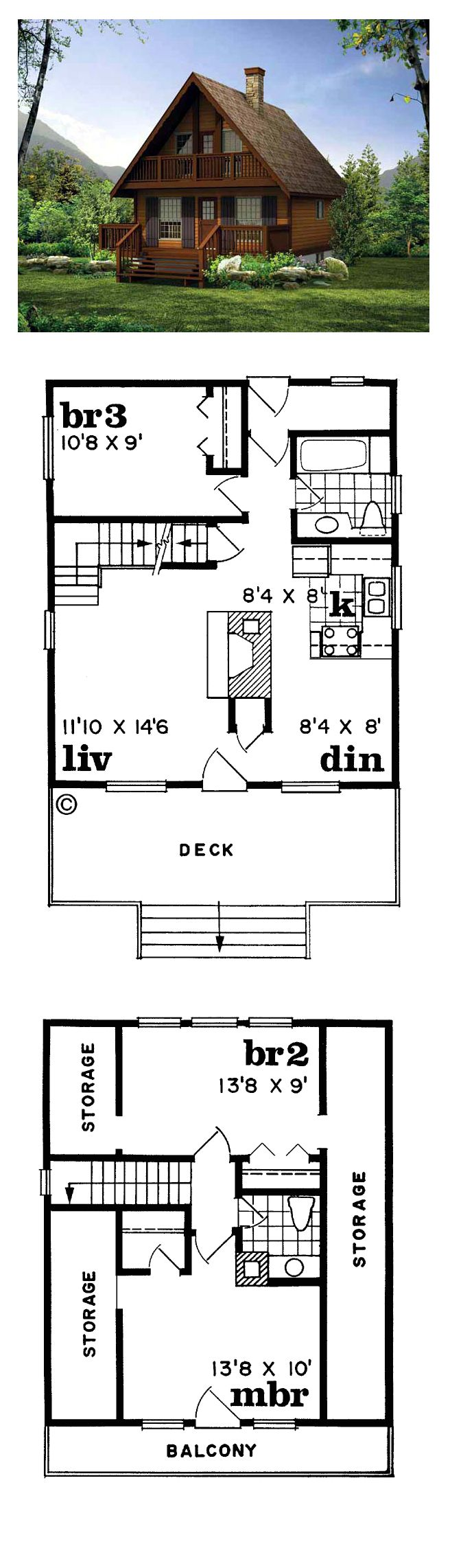 Narrow Lot Home Plan 55007 | Total Living Area: 1073 sq. ft., 3 bedrooms and 1.5 bathrooms. #houseplans #narrowlothome