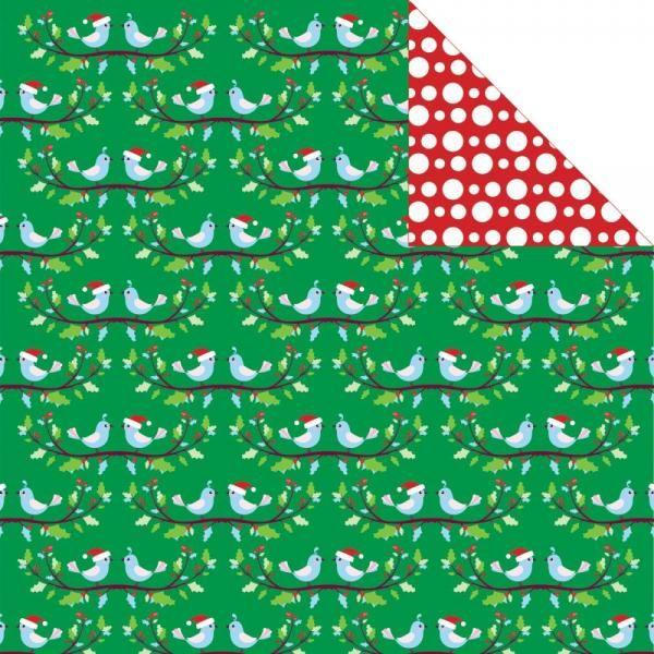 BIRDS + HOLLY - SANTA'S LIST DSIDED 12x12 SCRAPB...