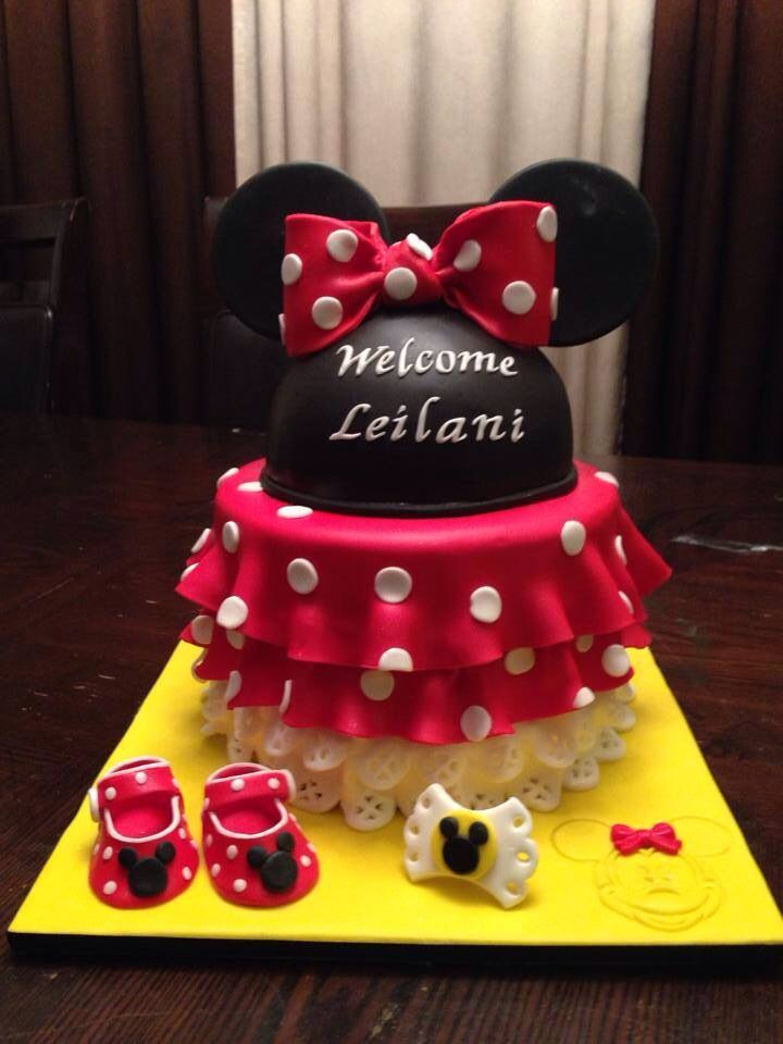 Red And Black Baby Shower Decorations Part - 45: Minnie Mouse Cake Baby Shower Red Yellow Black