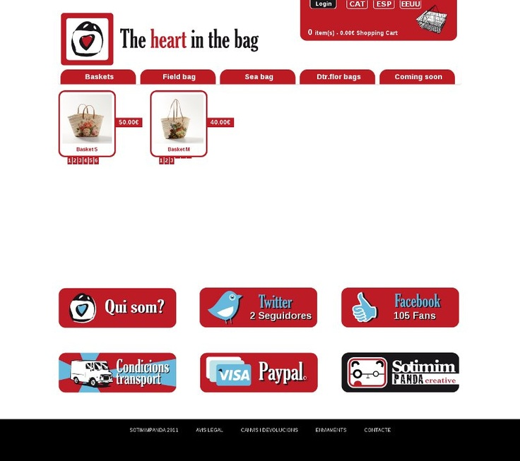 "Diseño web para la firma española ""The Heart in the Bag"""
