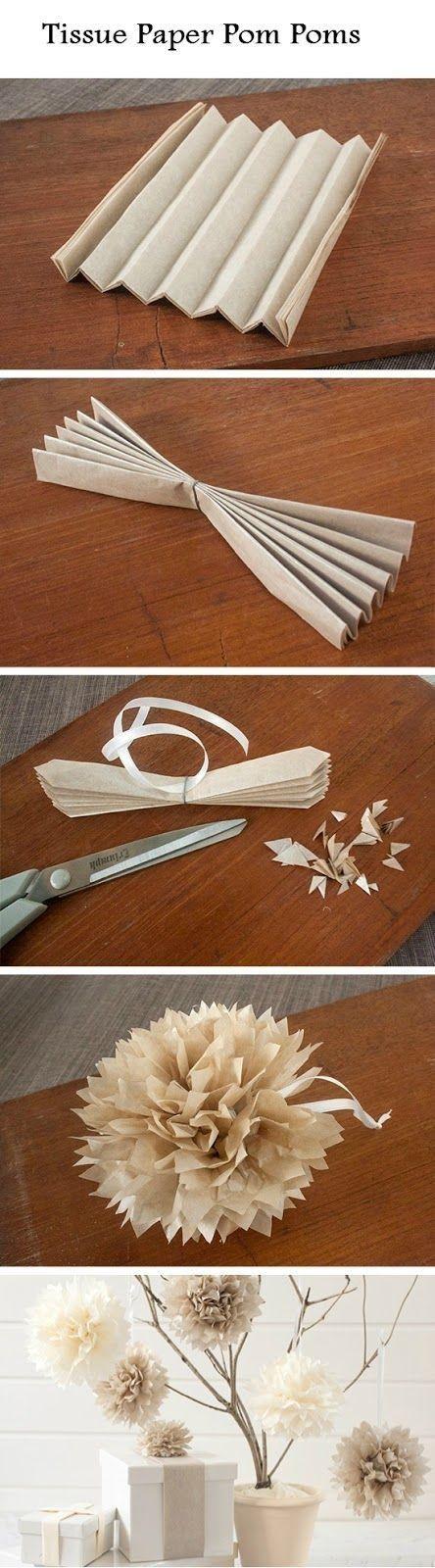 Easy Tissue Paper Pom Poms #easy  Pinterest:Caramelo DeFresa