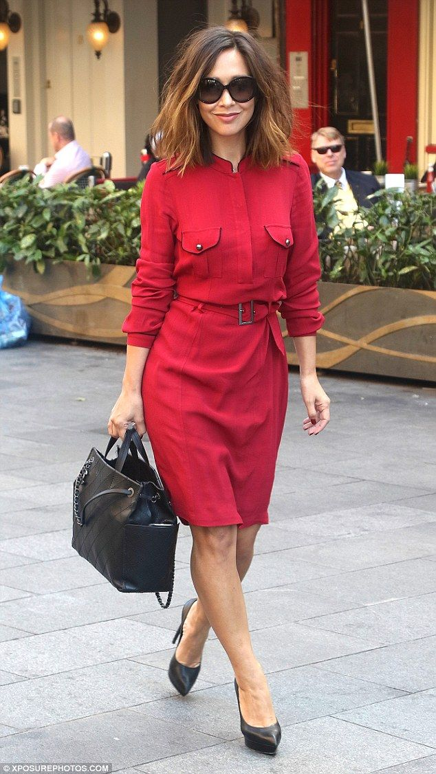 Working it: Myleene Klass scored yet another work wardrobe win as she stepped out in London on Wednesday