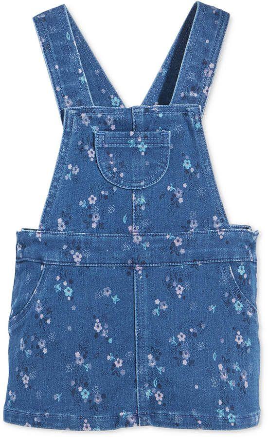 fa7995f84cb First Impressions Baby Girls Floral-Print Denim Jumper