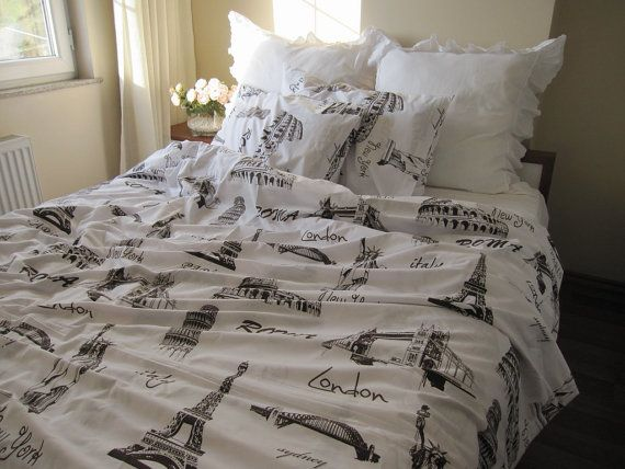 TWIN XL single duvet cover Eiffel tower theme Paris by nurdanceyiz, $60.00......could be awesome with some bright pillows