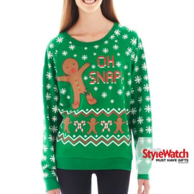 25 sweatshirt oh snap holiday sweatshirt found at jcpenney yummy pinterest fashion. Black Bedroom Furniture Sets. Home Design Ideas