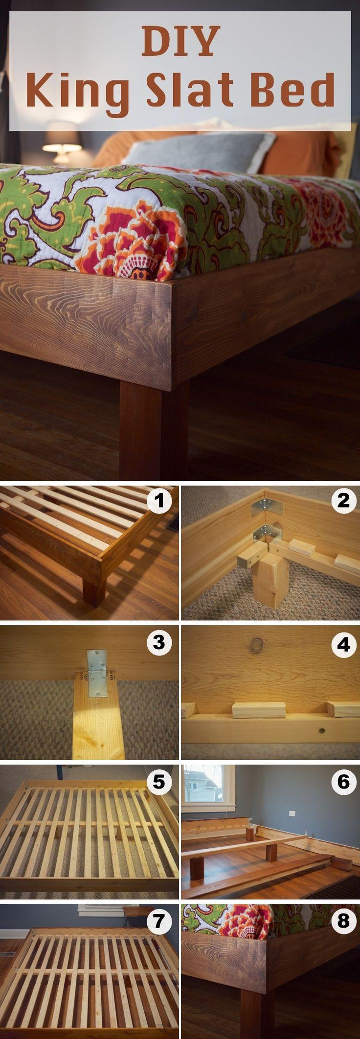 DIY King Slat Bed