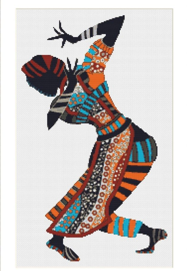 0 point de croix danseuse africaine - cross stitch african dancer