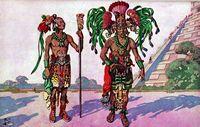 Sacerdotes mayas vestidos con pieles de jaguar y adornados con plumas de quetzal, caminan gesticulando ante un enorme templo.