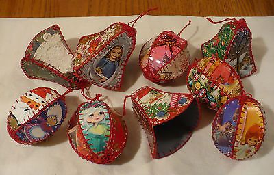 Vtg Lot Christmas Handmade Ornaments Old Greeting Cards (like Baskets)