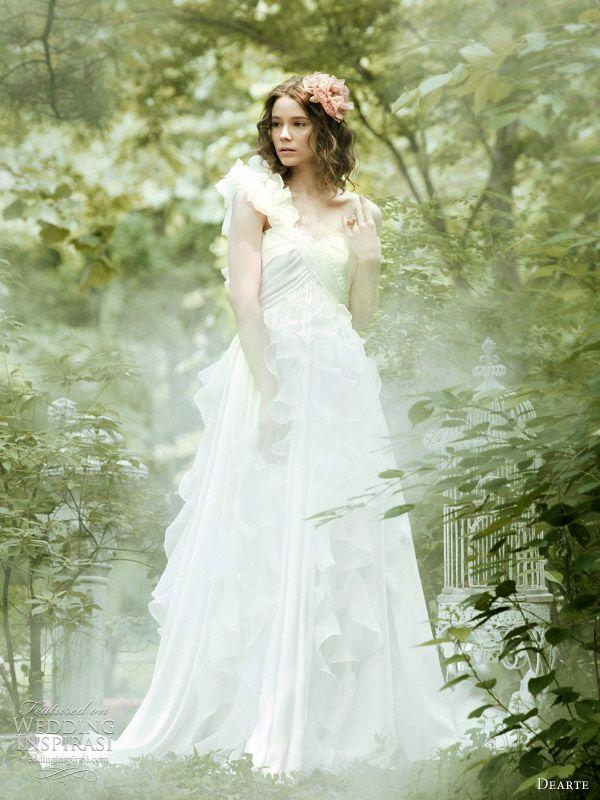 Romantic ruffle wedding dresses — one-shoulder strap, above and off-shoulder, below.
