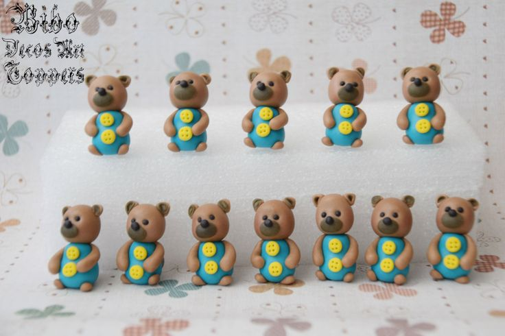 Edible 3D Teddy Bear Fondant Cupcake Toppers , Birthday Cupcake Toppers , Baby Shower Cupcake Toppers , Gathering Cupcake Toppers by BiboDecosArtToppers on Etsy