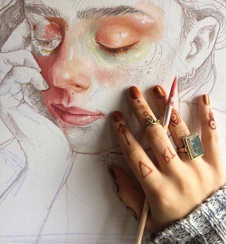 Drawing hand pencil watercolor art sketchbook