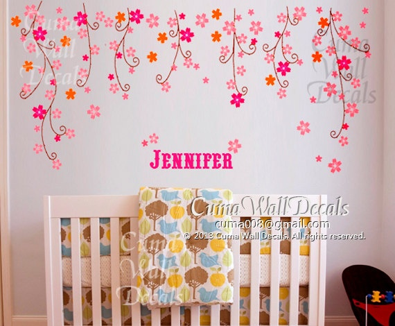 Nursery wall decal baby girl with name wall sticker flower for Baby girl nursery mural