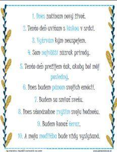 Motivačný poster, kde som do desiatich viet zhrnula múdrosti z desiatich zvitkov. Môžete si ho zadarmo stiahnúť z tejto stránky.