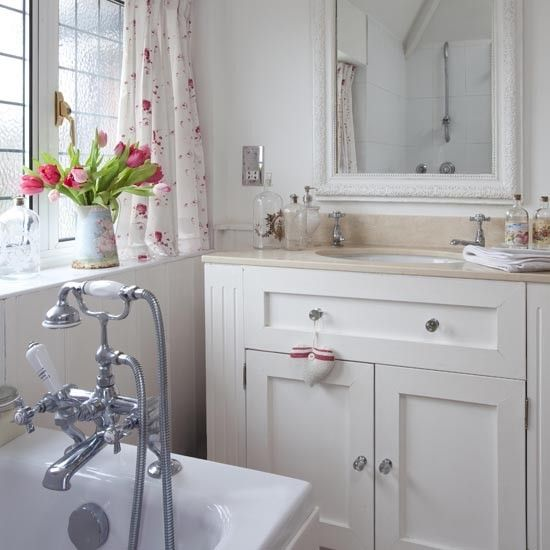 a vintage cabinet or dresser with a sink put in?: Decor Ideas, Guest Bathroom, Small Bathroom, Country Bathrooms, Upstairs Bathroom, Rooms Ideas, Bathroom Ideas, White Bathroom, Cottages Bathroom