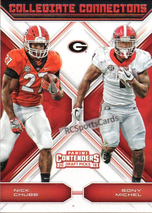 finest selection 40f6d e6b40 2018 Nick Chubb Sony Michel, UGA, 1 Panini Insert #6 ...