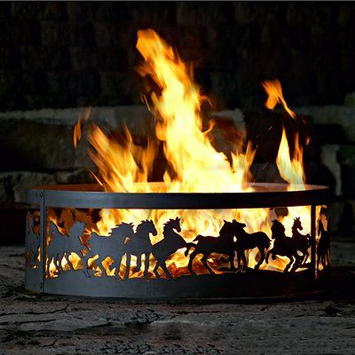 P & D Metal Works Mustangs Ring Fire Pit