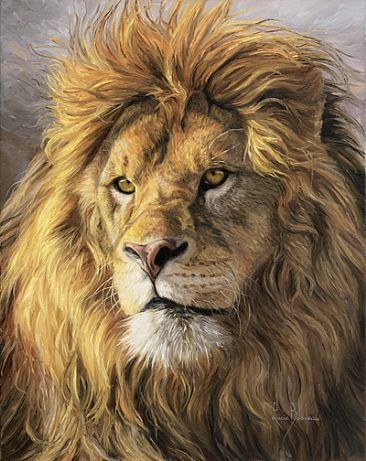 Lion painting | African Lion - Painting - Nature Art by Lucie Bilodeau