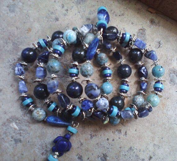 Men's Uni Sex Six Spirals of Lapis Pyrite by SinginHoundBeadz, $50.00