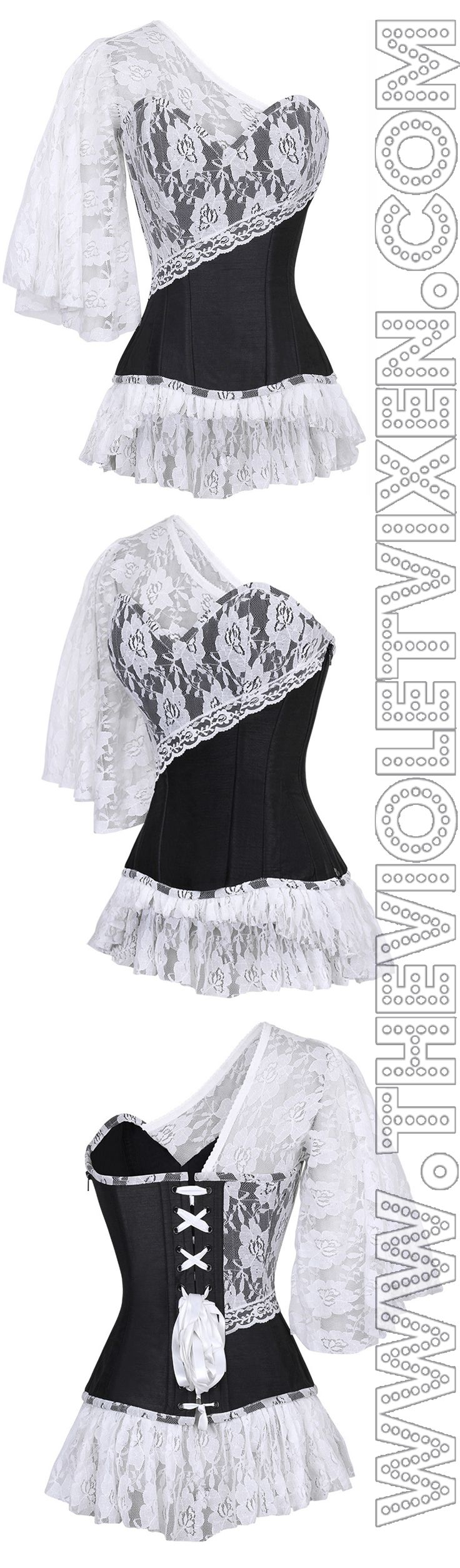 OMG! Sleeves for days. Love this! Ren Fair anyone?  Laced Cloud Black Steel Boned Corset - http://thevioletvixen.com/corsets/laced-cloud-black-corset/