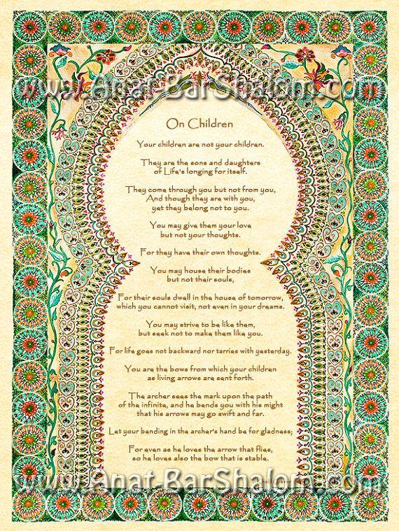 On Children by Kahlil Gibran - Romantic Gift - Romantic Art  - Anniversary Present - Poetry Print
