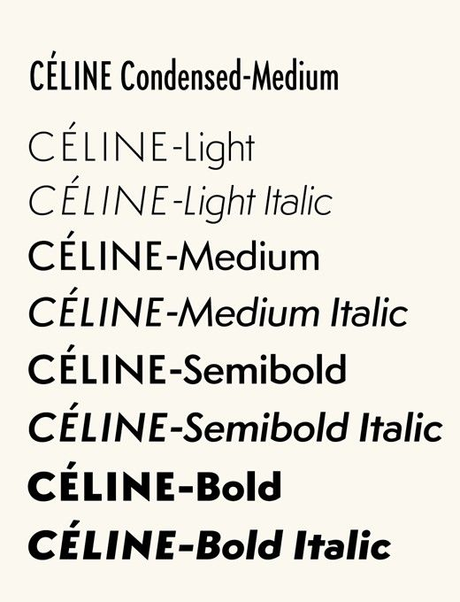 Styles of the Céline font by Famira Hannes, 2008