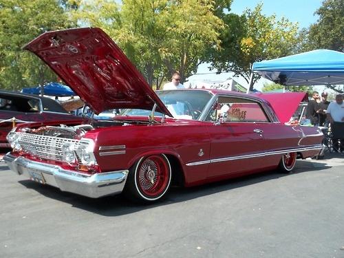 red 63 chevy impala lowrider car