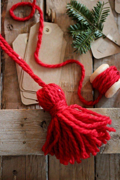 gift wrap - add yarn tassels from Magnolia