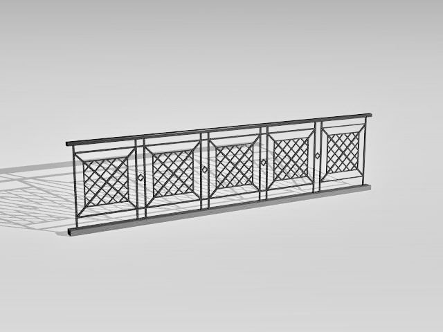 Pedestrian Safety Railing 3d Model Balcony Grill Design