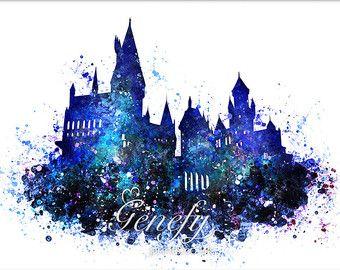 Harry Potter Hogwarts Castle Aquarell Kunst Poster von GenefyPrints – Nothing'sReal