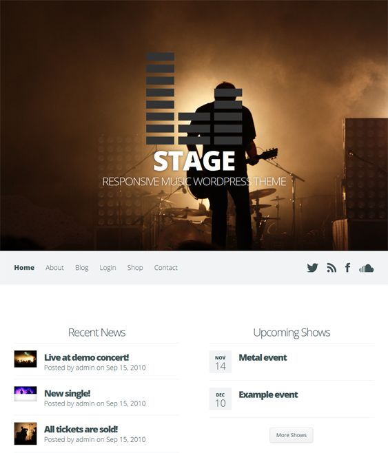 This music WordPress theme includes audio integration, event management, a responsive layout, WooCommerce compatibility, unlimited colors, complete localization, shortcodes, cross-browser compatibility, and more.