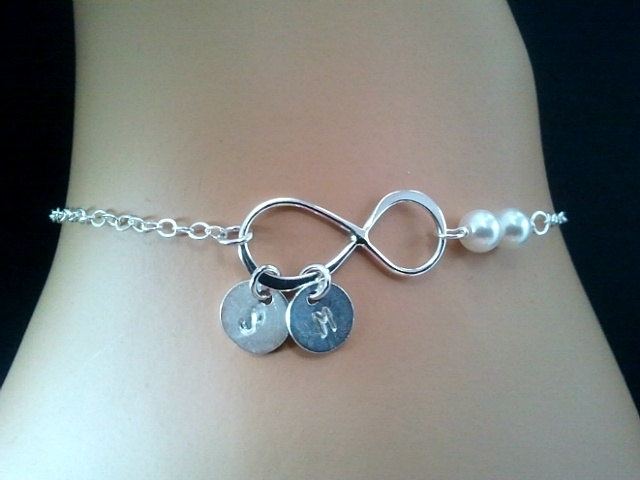 PERSONALIZED INITIAL Infinity love with Pearls Bracelet - mothers day! $28.50, via Etsy.