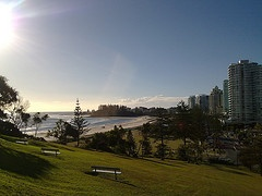 A georgous day above Kirra Beach looking out toward Coolangatta.