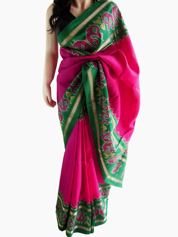 Magenta & Green Pure Silk Pochampalli Saree