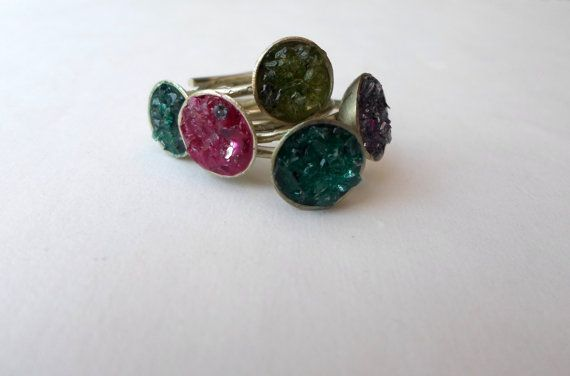 druzy rings/turquoise ring/purple ring/green ring/pink by AbyCraft