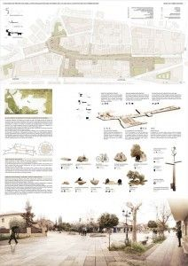 """Esempio di impaginazione tavole architettura con render a fondo pagina e """"cielo"""" trasparente."""