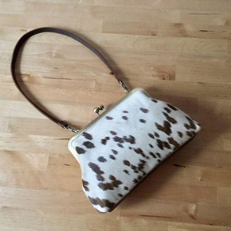 Cowhide purse with strap,Calf Hair bag,Spotted hair on hide clutch,Cosmetic Bag  #VitalTemptation #ClutchWomenspurseLeatherPurseCalfHairbagEveningPurseFurClutchShoulderBagMiniBag