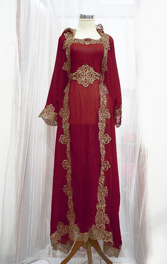 NEW Maroon Moroccan Caftan Hoodie Sheer Chiffon Fancy FULL Gold Embroidery Abaya Dubai Maxi Dress farasha Hijab Style Jalabiya