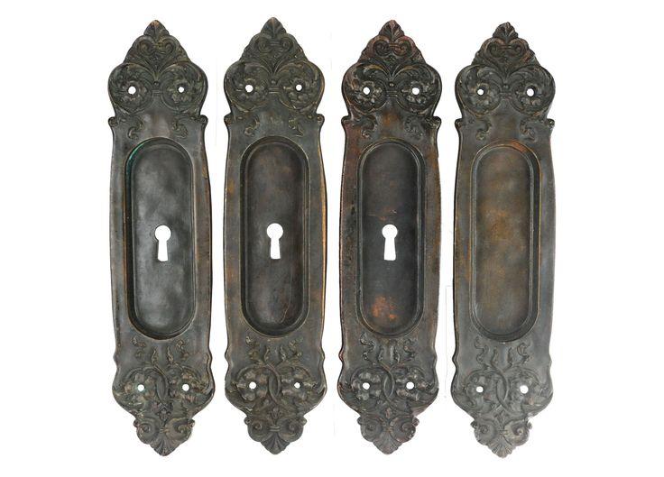 YALE & TOWNE DOUBLE POCKET DOOR PLATES - SET OF 4 - Art Nouveau Industrial Decorative Objects - Dering Hall