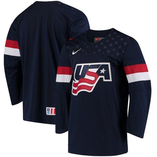 Men S Nike Navy Us Hockey 2018 Winter Olympics Usa Primary Replica Jersey Usa Hockey Hockey Clothes Hockey Jersey