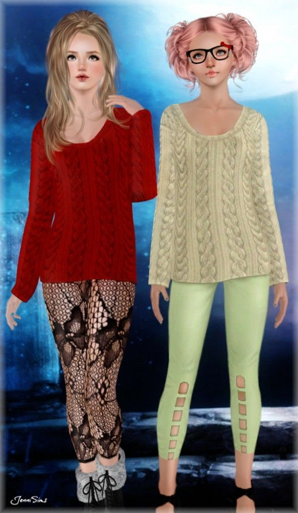 Sweater and leggings outfit by Jennisims - Sims 3 Downloads CC Caboodle
