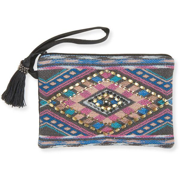 Aeropostale Embellished Woven Zip Wristlet ($18) ❤ liked on Polyvore featuring bags, handbags, clutches, grey, boho handbag, grey purse, beaded handbags, woven handbags and bohemian purse