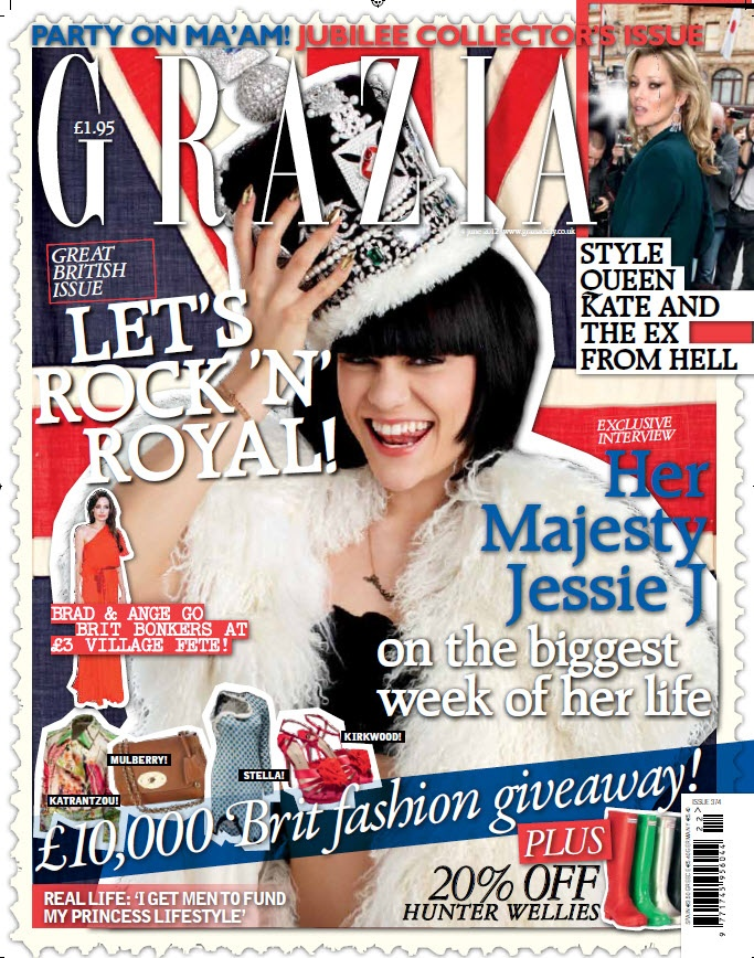 Jessie J wearing the Diamonique Jubilee Crown for special Jubilee issue of Grazia