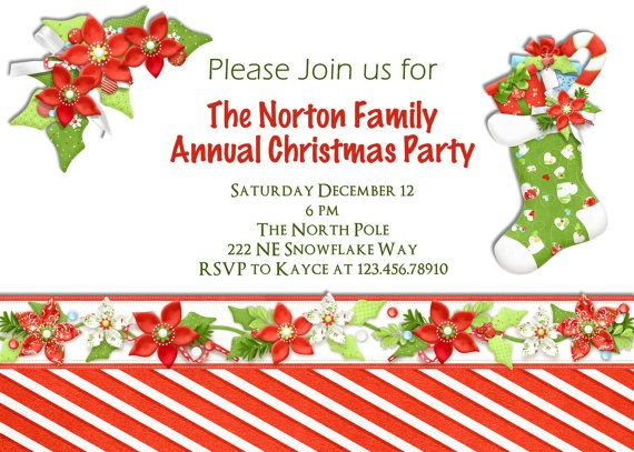 Christmas Party Invitation Stocking Poinsettia Custom Printable Invite