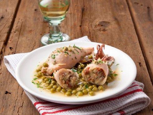 calamari farciti con piselli e nocciole Sale&Pepe ricetta