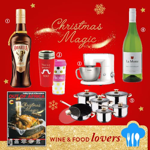 Get Shopping with OUT OF AFRICA: DECEMBER Issue OUT NOW!  Food wine and chocolate. A combination that never fails to impress during the holiday season.  1. AMARULA $15.55 a pure blend of natures fresh cream and the mysterious taste of the wild marula fruit. Available at SPAR. 2. COFFEE MUGS $14 make your coffee to go! Available at Dusk Home. 3. PHILIPS STAND MIXER $660 will do all the hard work for you creating the perfect mixes in minutes. A truly hands-free kitchen helper. Available at…