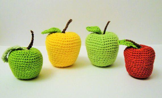 Crochet Apple Play Food Play Kitchen food by Crochetpumpkin