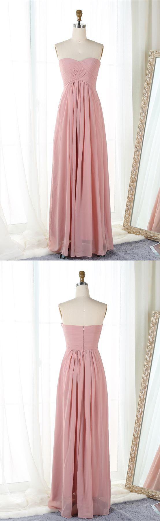 simple blush long prom dresses,elegant chiffon bridesmaid dress,sweatheart  dress for bridesmaids under $50,buy two get one free